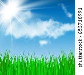 green grass  blue sky and sun... | Shutterstock .eps vector #653718991