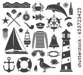 sea travel icon set. nautical... | Shutterstock .eps vector #653723425