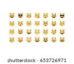 set of cat emoticon vector...