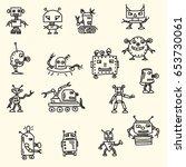 doodle handrawn robots. vector...   Shutterstock .eps vector #653730061
