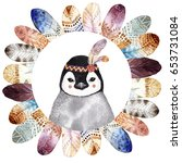 Stock photo watercolor frame with boho styled feathers hand draw illustration watercolor penguin portrait 653731084