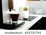 black coffee in glass from... | Shutterstock . vector #653731741