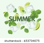 summer letter with mojito...   Shutterstock .eps vector #653734075