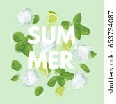 summer letter with mojito... | Shutterstock .eps vector #653734087