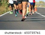 marathon running race  people...   Shutterstock . vector #653735761