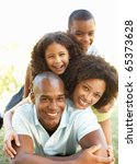 portrait of happy family piled... | Shutterstock . vector #65373628