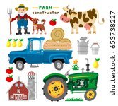 set of cartoon farm elements... | Shutterstock .eps vector #653738227