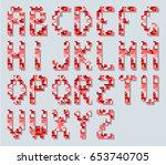 alphabet in style pixel retro...