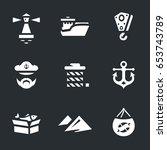 vector set of sea port icons. | Shutterstock .eps vector #653743789