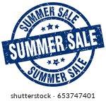 summer sale blue round grunge...   Shutterstock .eps vector #653747401