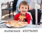 happy little boys  sitting at... | Shutterstock . vector #653756305