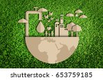save water concept. paper cut... | Shutterstock . vector #653759185