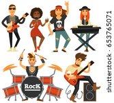rock music band singer  bass...   Shutterstock .eps vector #653765071