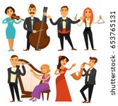 orchestra singers and musicians ... | Shutterstock .eps vector #653765131
