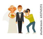 wedding photographer and couple ... | Shutterstock .eps vector #653765251