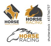 Stock vector horse racing sport club vector isolated running mustang icons set 653766757