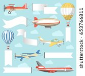 flying air advertising media... | Shutterstock .eps vector #653766811
