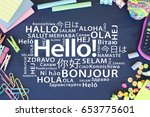 hello in different languages | Shutterstock . vector #653775601