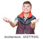 cheerful handsome teen boy with ...   Shutterstock . vector #653779201