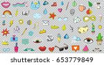 big set of patches elements... | Shutterstock .eps vector #653779849