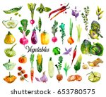 hand drawn set with watercolor... | Shutterstock . vector #653780575
