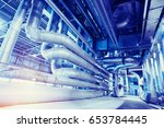 equipment  cables and piping as ... | Shutterstock . vector #653784445