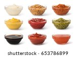 Bowl With Sauce Set Isolated O...