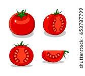 painting tomato  vector | Shutterstock .eps vector #653787799