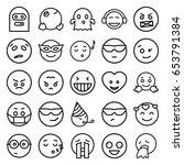 emoji icons set. set of 25... | Shutterstock .eps vector #653791384