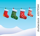 christmas stockings | Shutterstock .eps vector #65379544