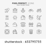 thin line icons set of summer... | Shutterstock .eps vector #653795755