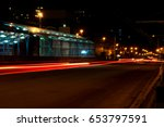 night traffic light trails ... | Shutterstock . vector #653797591