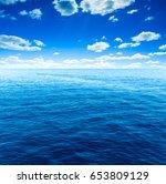 cloudy sky and sea. sea summer... | Shutterstock . vector #653809129