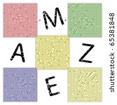 abstract square maze against... | Shutterstock .eps vector #65381848