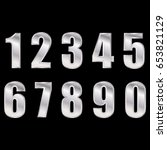 silver digital numbers vector... | Shutterstock .eps vector #653821129