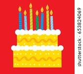 colorful birthday cake | Shutterstock .eps vector #653824069