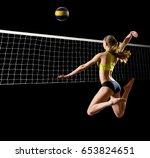 young woman beach volleyball... | Shutterstock . vector #653824651