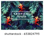 floral horizontal postcard... | Shutterstock .eps vector #653824795