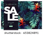 floral sale design with... | Shutterstock .eps vector #653824891