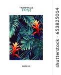 floral vertical postcard design ... | Shutterstock .eps vector #653825014