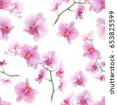 watercolor orchid flowers... | Shutterstock . vector #653825599