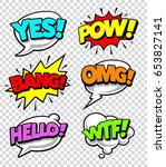 comic speech bubbles with... | Shutterstock .eps vector #653827141