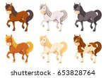 Stock vector cute cartoon horse illustration set different colors 653828764