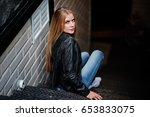 stylish blonde woman wear at... | Shutterstock . vector #653833075