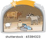 birth of messiah in a stable. a ... | Shutterstock .eps vector #65384323