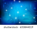 circuit board technology blue... | Shutterstock .eps vector #653844019