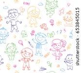 cheerful children seamless... | Shutterstock .eps vector #653845015