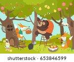 cute animals harvesting | Shutterstock .eps vector #653846599