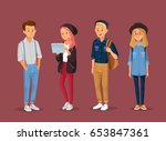 young  people. street style.... | Shutterstock .eps vector #653847361