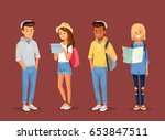 young style people with gadgets ... | Shutterstock .eps vector #653847511